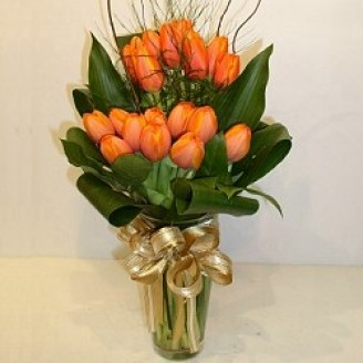 20 Orange Tulips with vase