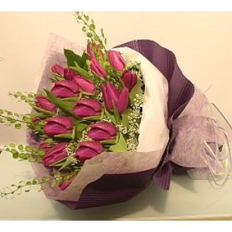 18 Purple Tulips