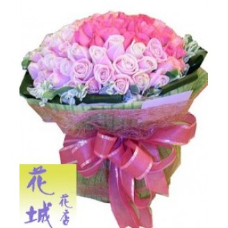 99 light and dark pink roses